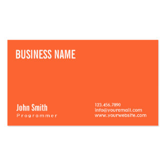 Simple Plain Orange Programmer Business Card