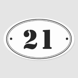 Simple Plain Oval Number Stickers