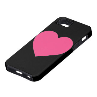 Simple plain pink heart black iphone 5 case
