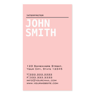 Simple Plain Pink Interpreter Business Card