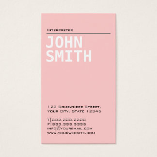 Simple Plain Pink Interpreter Business Card