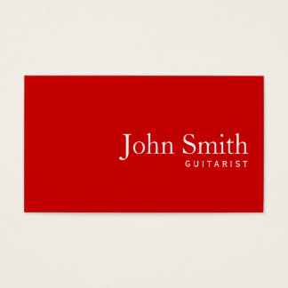 Simple Plain Red Guitarist Business Card