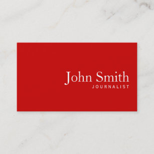 Journalism media business cards business card printing zazzle uk simple plain red journalist business card reheart Choice Image