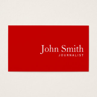 Simple Plain Red Journalist Business Card