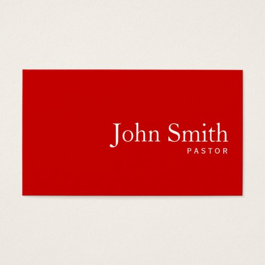 Simple Plain Red Pastor Business Card