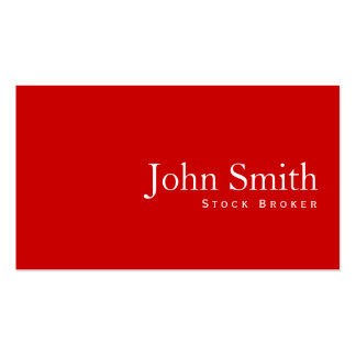 Simple Plain Red Stock Broker Business Card