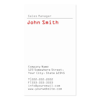 Simple Plain Sales Manager Business Card