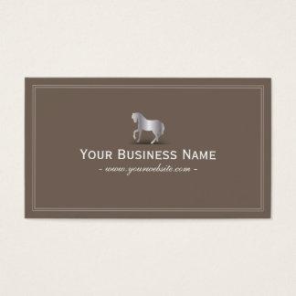 Simple Plain Silver Horse Business Card (Brown)