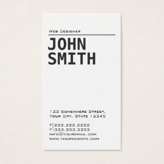 Simple Plain White Web Design Business Card