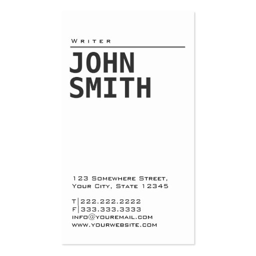 Collections of copywriter business cards simple plain white writer business card colourmoves Images