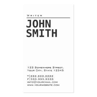 Simple Plain White Writer Business Card