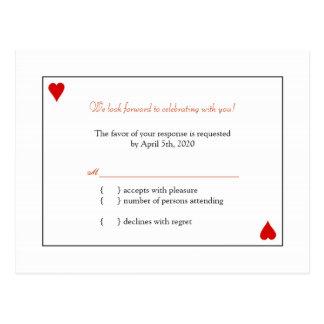 Simple Playing Cards Wedding RSVP Postcard