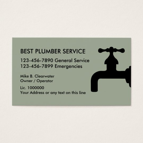 Simple Plumber Business Card