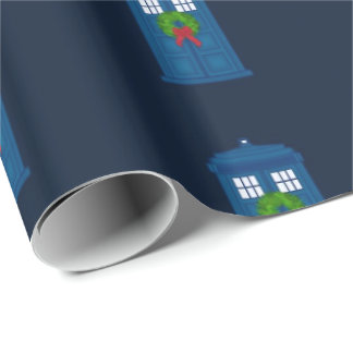 """Simple Police Box with Wreath"" (Large Pattern) Wrapping Paper"