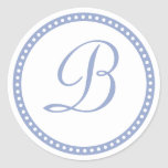 Simple Powder Blue Dot Monogram Initial Sticker