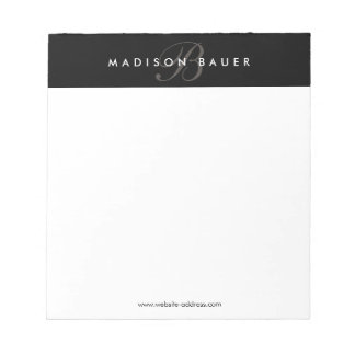 Simple Professional Black and White Monogram Notepad