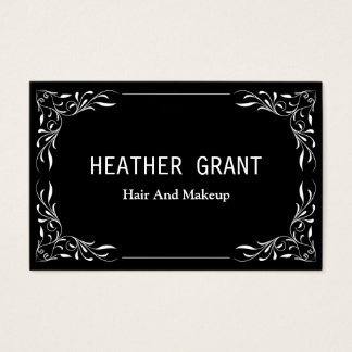 Simple Professional Black Floral Business Cards