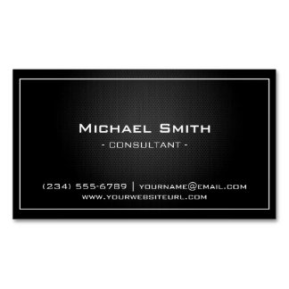 Simple Professional Black Metallic Modern Look Magnetic Business Card