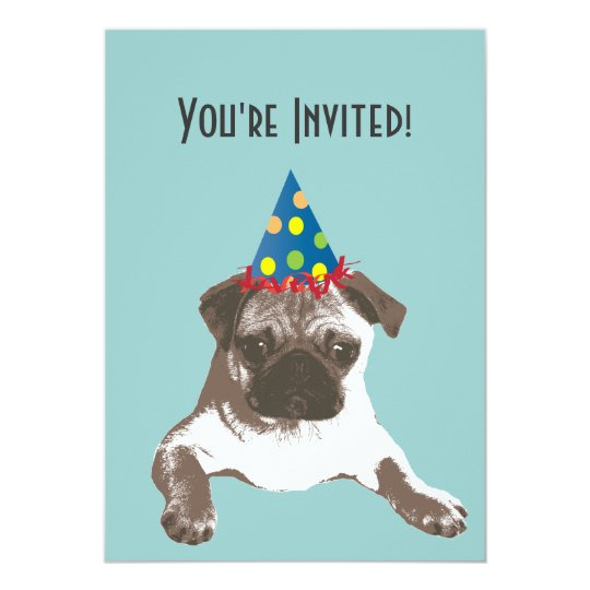 Simple Pug in Hat Birthday Party Invitation