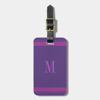 Simple Purple And Pink Fox Leather Look Luggage Tag