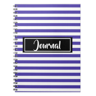 Simple Purple and White Stripes Striped Journal