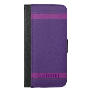 Simple Purple Faux Leather Look Monogram iPhone 6/6s Plus Wallet Case