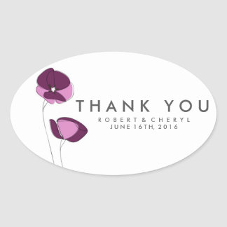 Simple Purple Flower Wedding Thank You Stickers