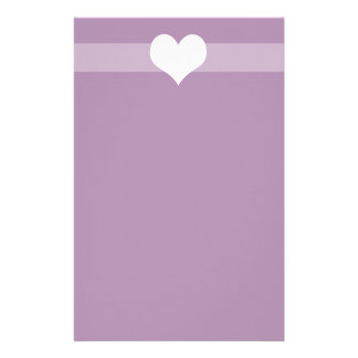 Simple Purple Heart Stationary Stationery