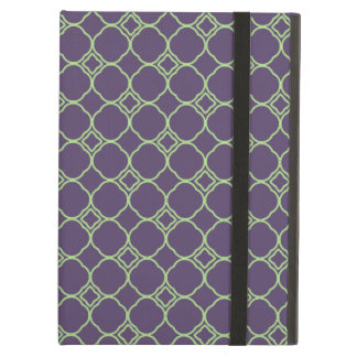 Simple Quatrefoil Pattern in Purple and Lime Green Case For iPad Air