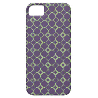 Simple Quatrefoil Pattern in Purple and Lime Green Case For The iPhone 5