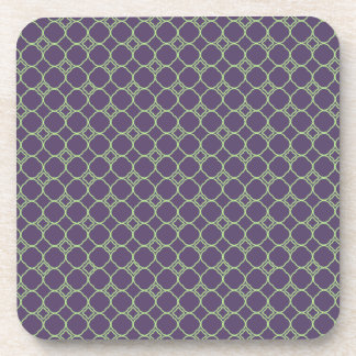 Simple Quatrefoil Pattern in Purple and Lime Green Coaster