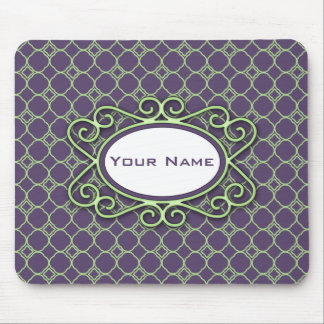 Simple Quatrefoil Pattern in Purple and Lime Green Mouse Mat