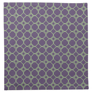 Simple Quatrefoil Pattern in Purple and Lime Green Napkin