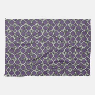 Simple Quatrefoil Pattern in Purple and Lime Green Tea Towel