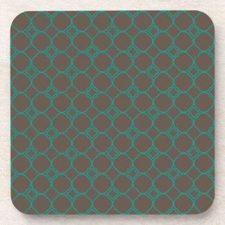 Simple Quatrefoil Pattern in Teal and Taupe Coaster