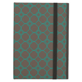 Simple Quatrefoil Pattern in Teal and Taupe Cover For iPad Air