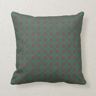 Simple Quatrefoil Pattern in Teal and Taupe Cushion