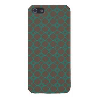 Simple Quatrefoil Pattern in Teal and Taupe iPhone 5 Case