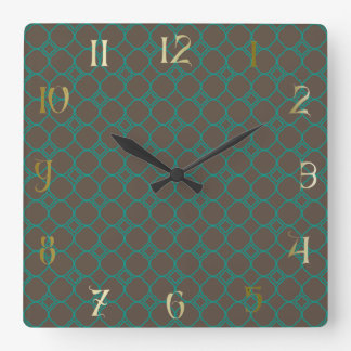 Simple Quatrefoil Pattern in Teal and Taupe Square Wall Clock