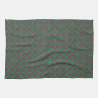 Simple Quatrefoil Pattern in Teal and Taupe Tea Towel