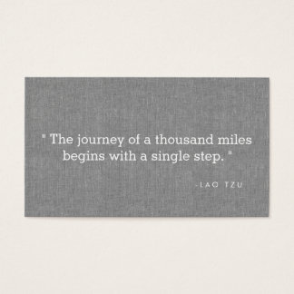 Simple Quote on Gray Linen Authors, Writers Business Card