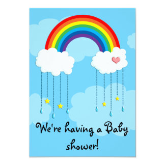 Simple rainbow baby shower 13 cm x 18 cm invitation card