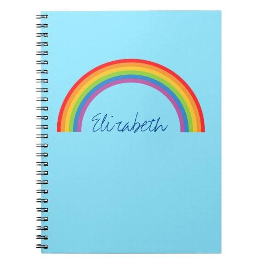 Simple Rainbow Personalised Notebook