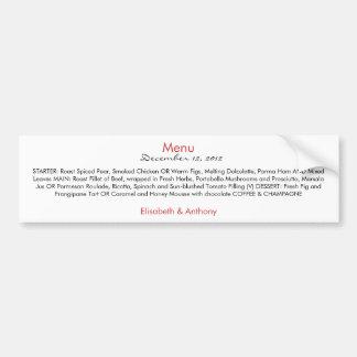 simple red and black wedding menu bumper sticker