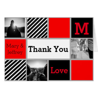 Simple Red and Striped Photo Thank You Card