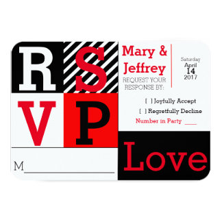 Simple Red and Striped Photo Wedding RSVP Card
