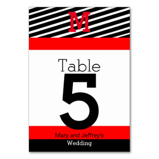 Simple Red and Striped Table Cards