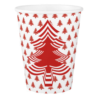 Simple Red and White Christmas Tree Font Pattern Paper Cup