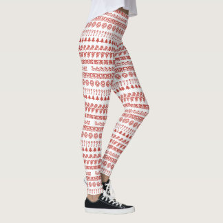 Simple Red and White Rows Christmas Pattern Leggings