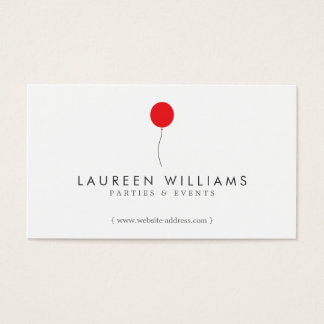 Simple Red Balloon Event Planner, Party Planner Business Card
